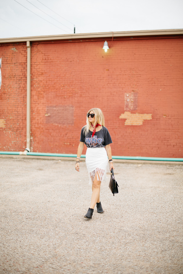 graphic tee and fringe wrap skirt