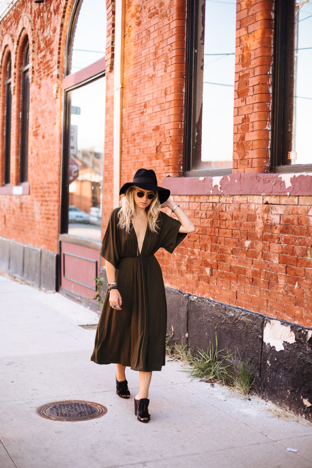 knit dress with deep v