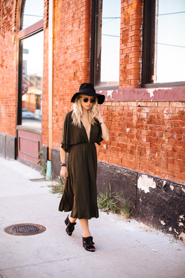 plunging neckline and dolman sleeves