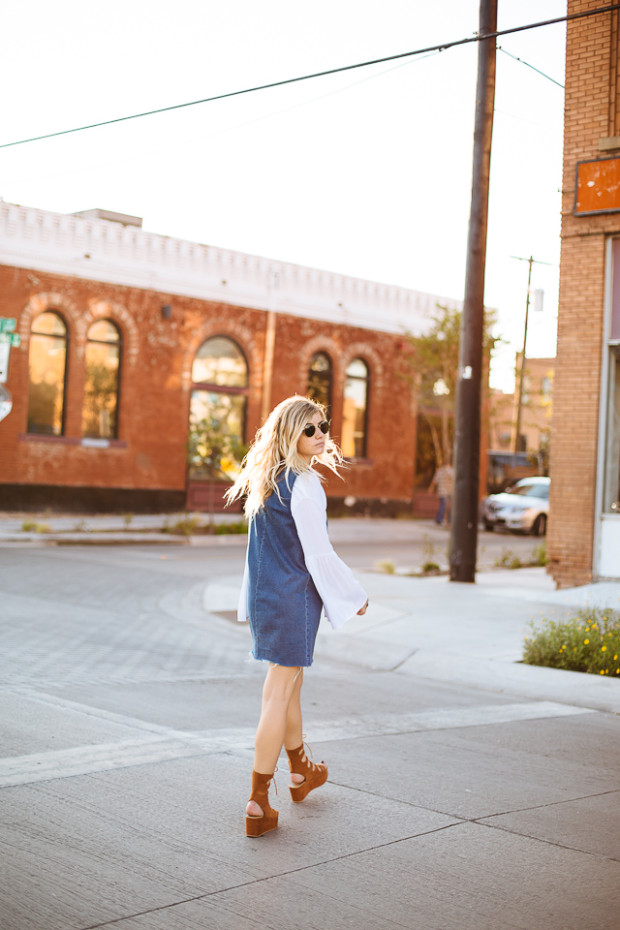 shein bell sleeve top and denim dress
