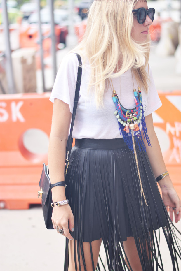skirt with leather fringe