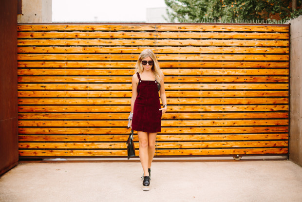 wine corduroy pinafore dress