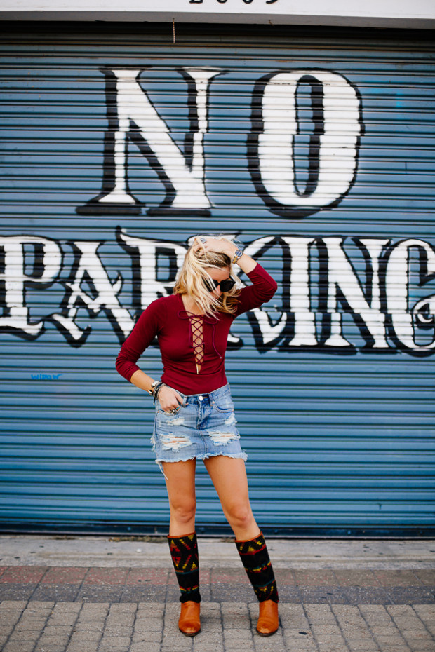 wine red plunge lattice lace up long sleeve tee