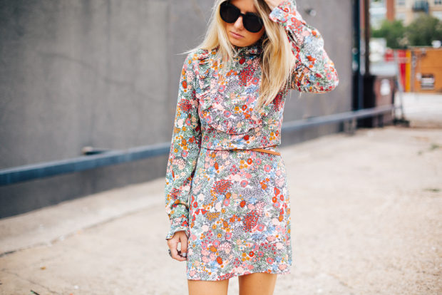 floral dress with high neck