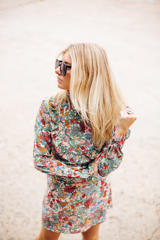 floral high neck mini dress
