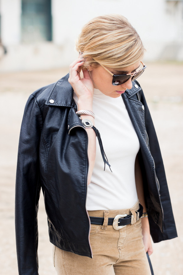 leather jacket and moc turtleneck