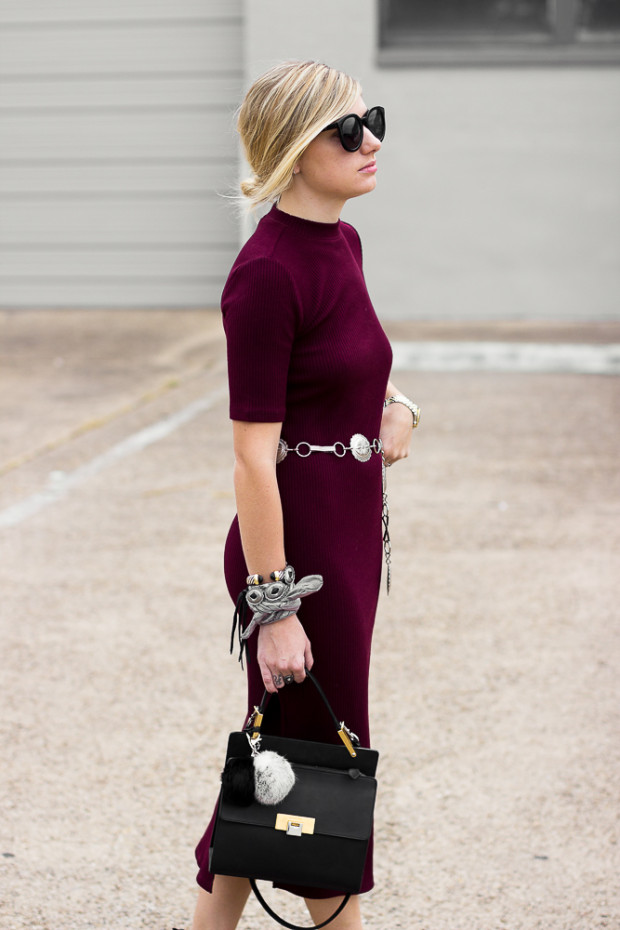 ribbed midi dress and concho belt