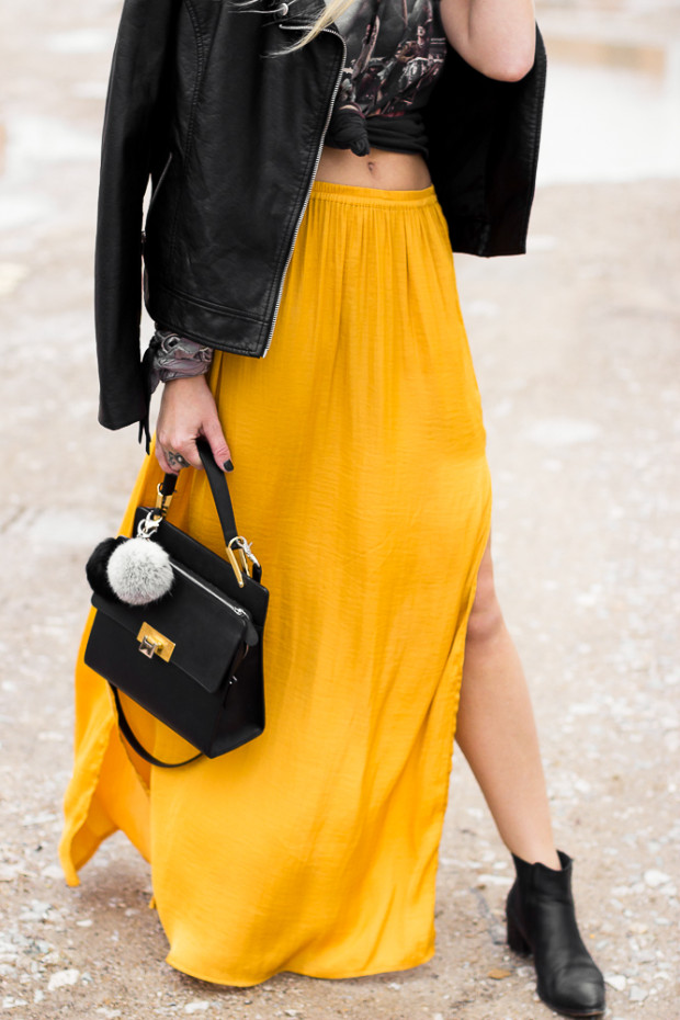 side slit satin maxi skirt