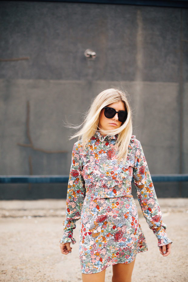 topshop high neck floral dress