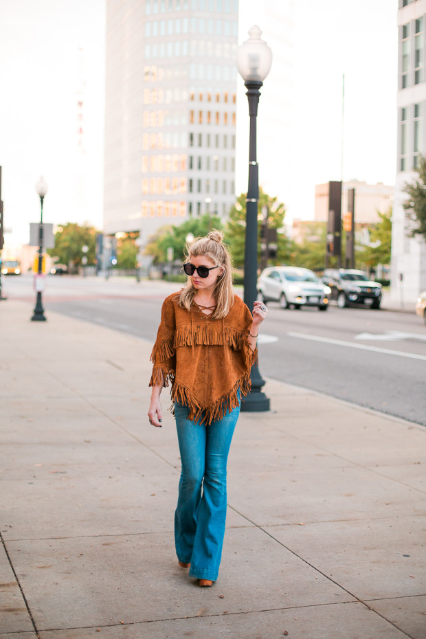 flares and suede poncho
