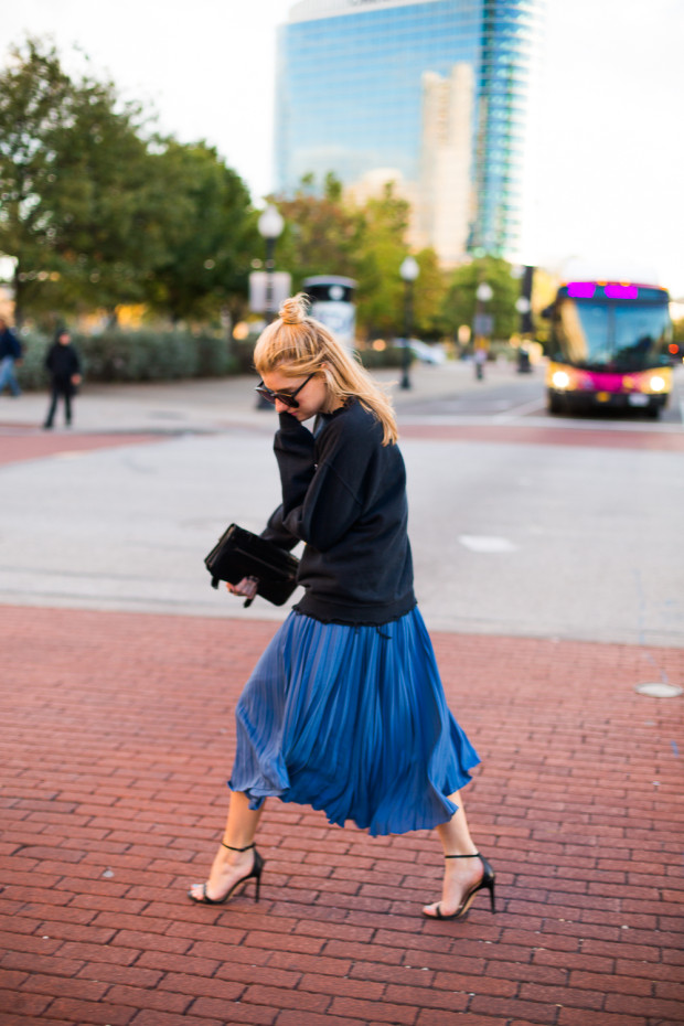 midi skirt and crew neck sweatshirt