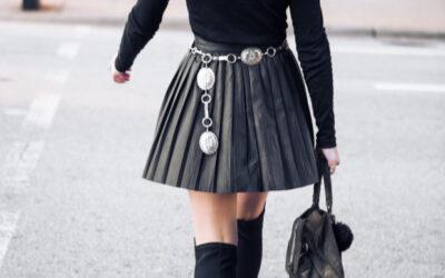 Pleated Leather Mini