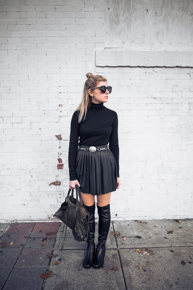 pleated leather skirt and turtleneck