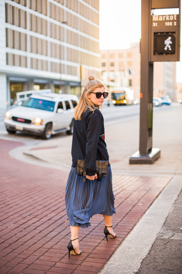 pleated midi and sweatshirt