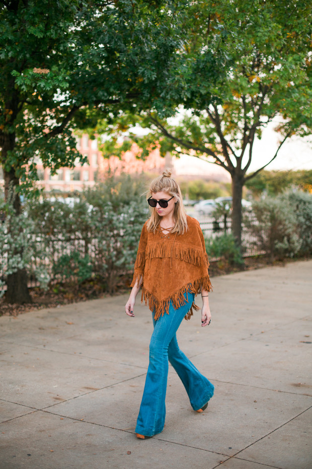 suede fringe poncho and bell bottoms