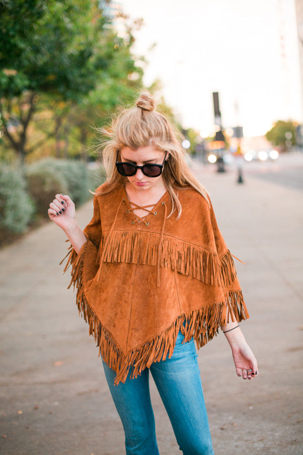 suede fringed poncho