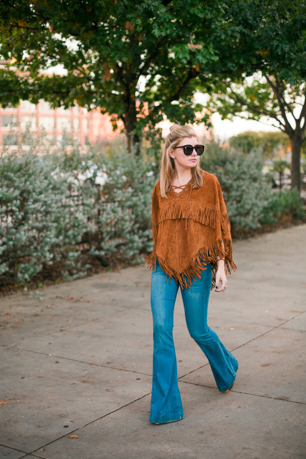 suede poncho and flares