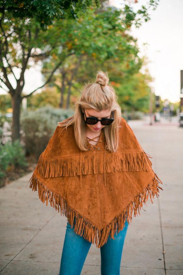 suede poncho with fringe
