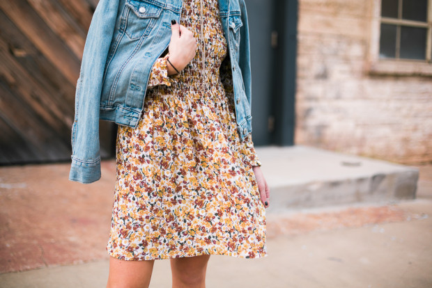 topshop floral dress and jean jacket