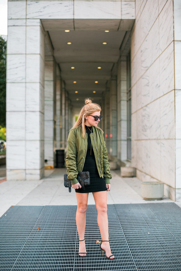bodycon dress and bomber jacket
