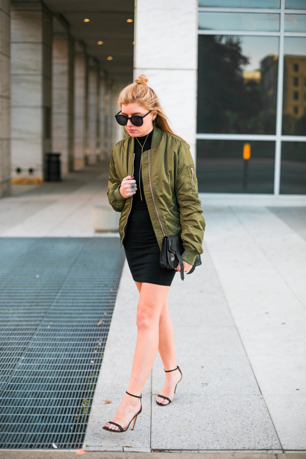 bomber jacket and bodycon