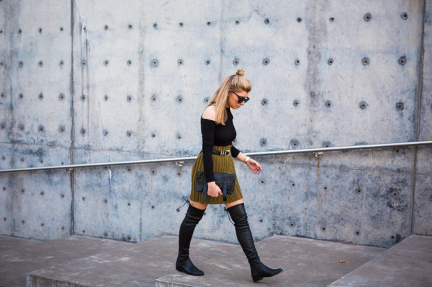 cold shoulder top and knee high boots