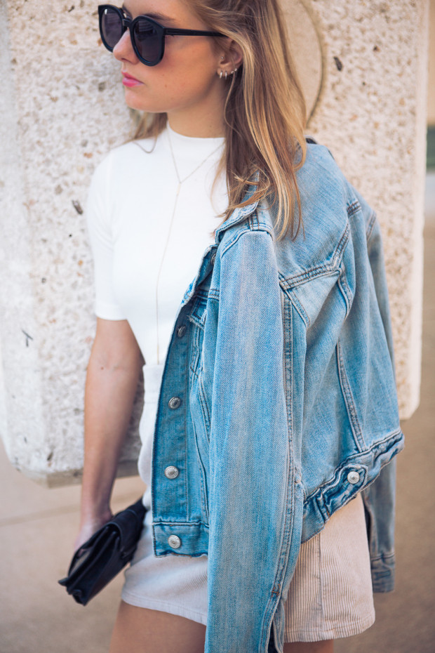 corduroy mini skirt and jean jacket