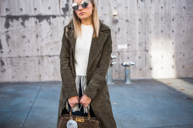 fringe sweater and suede jacket