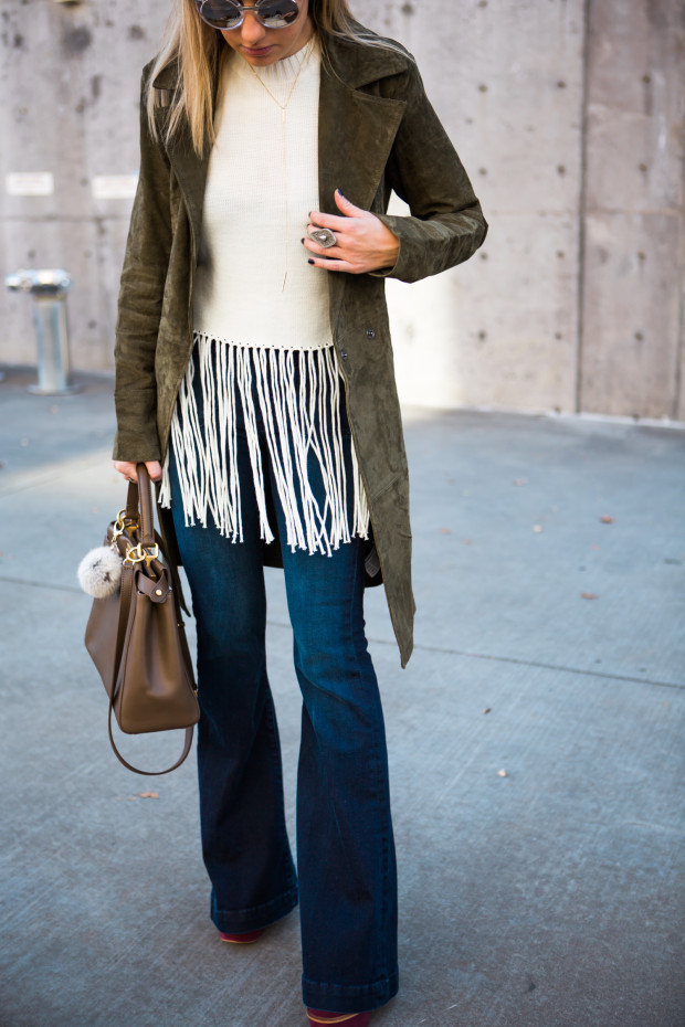 fringe sweater and suede trench coat