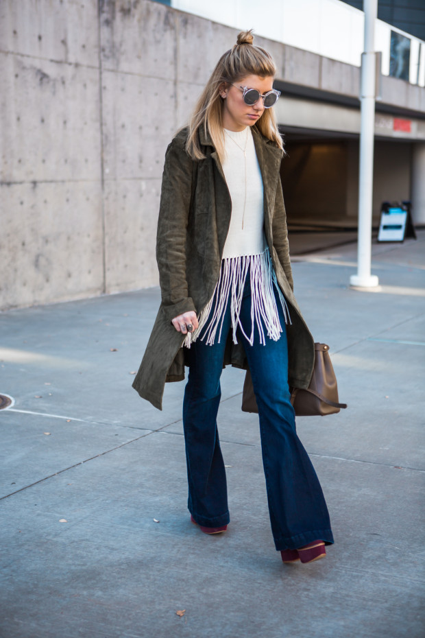 hudson flares and fringe top