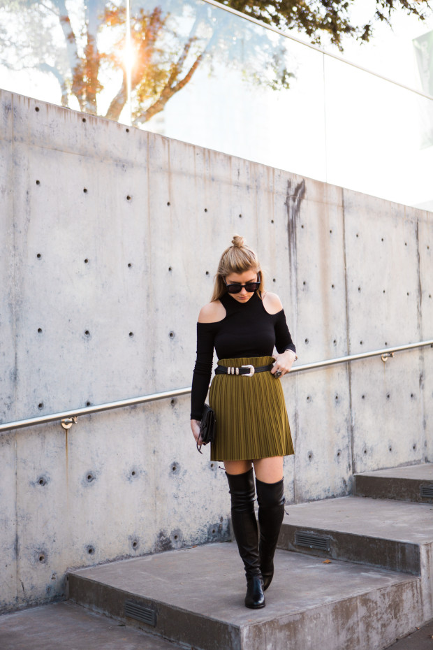 ribbed cold shoulder top and pleated mini skirt