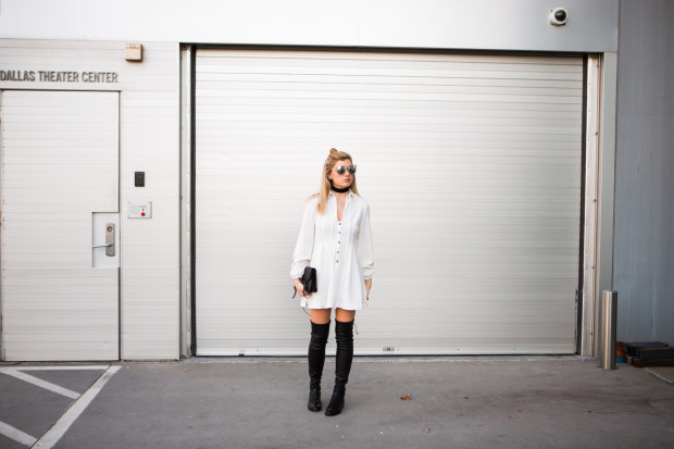 white free people shirt dress and leather knee highs