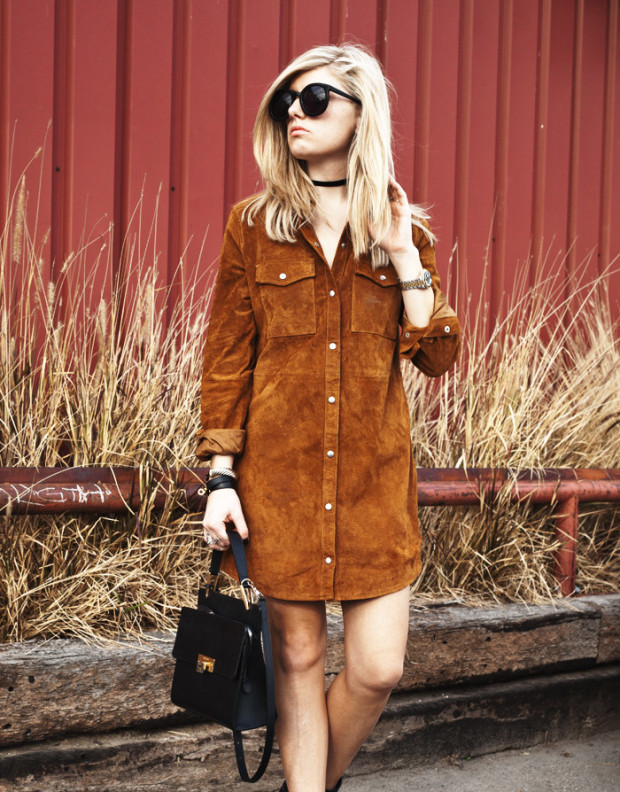 high end hippie suede dress