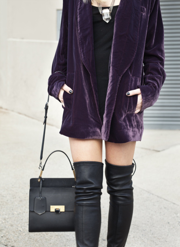 knee high boots and velvet blazer