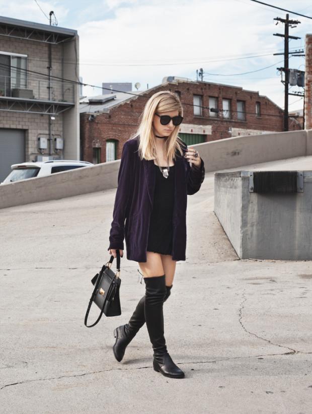 velvet blazer and stuart weitzman boots