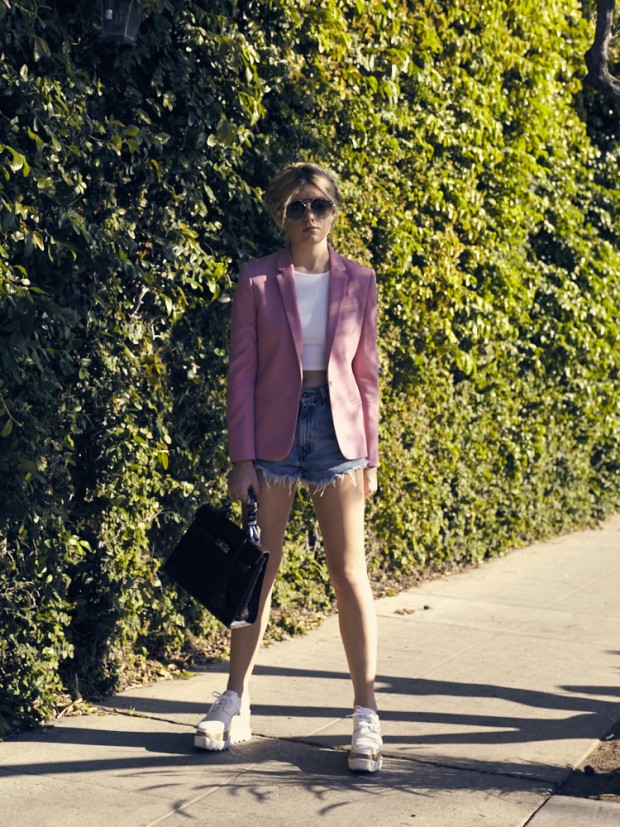 pink blazer and levi's cutoffs