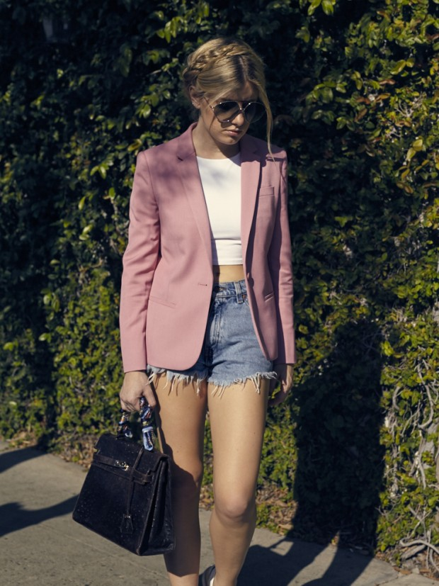 pink topshop blazer and cutoffs