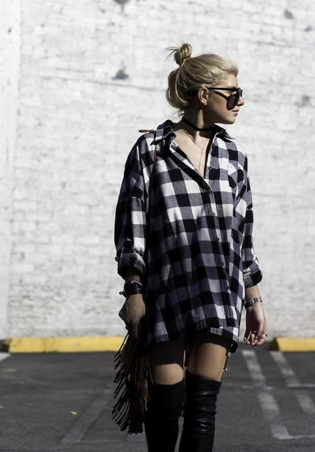 Plaid dress and stuart weitzman knee highs