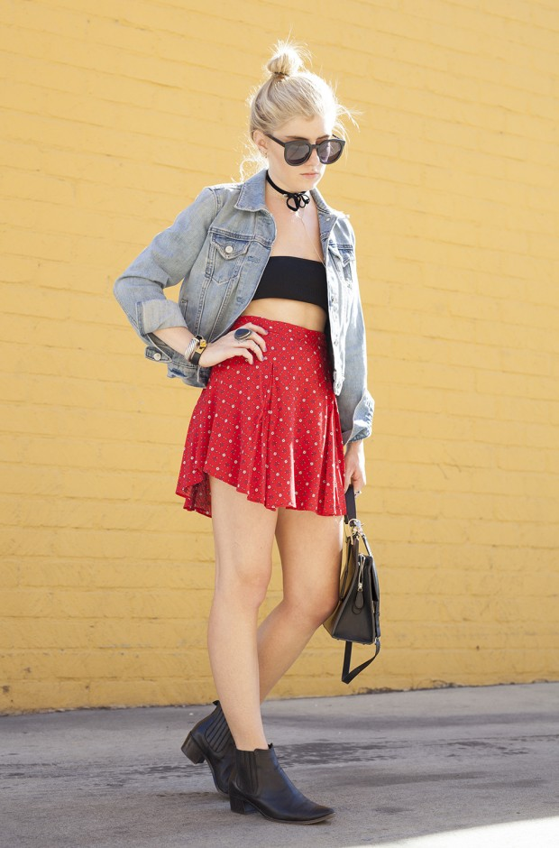 bandeau and floral flounce skirt