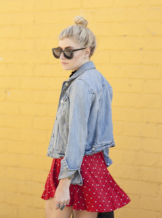 jean jacket and floral flounce skirt