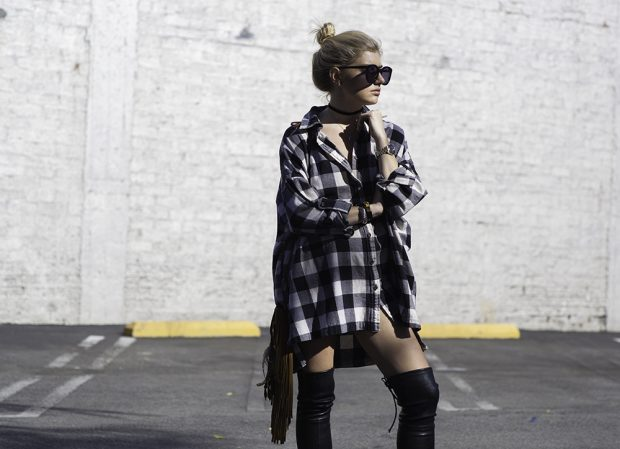 oversized plaid flannel and knee high boots