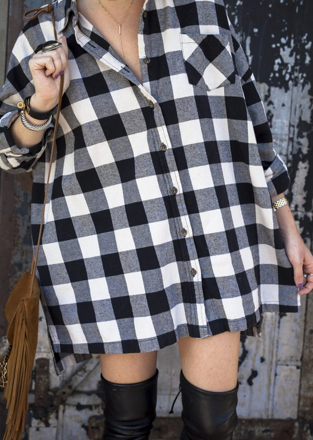 oversized plaid flannel dress
