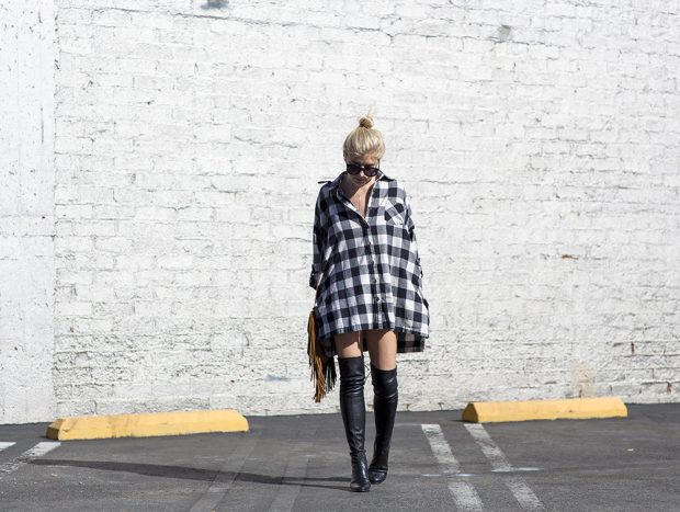stuart weitzman knee high boots and oversized flannel