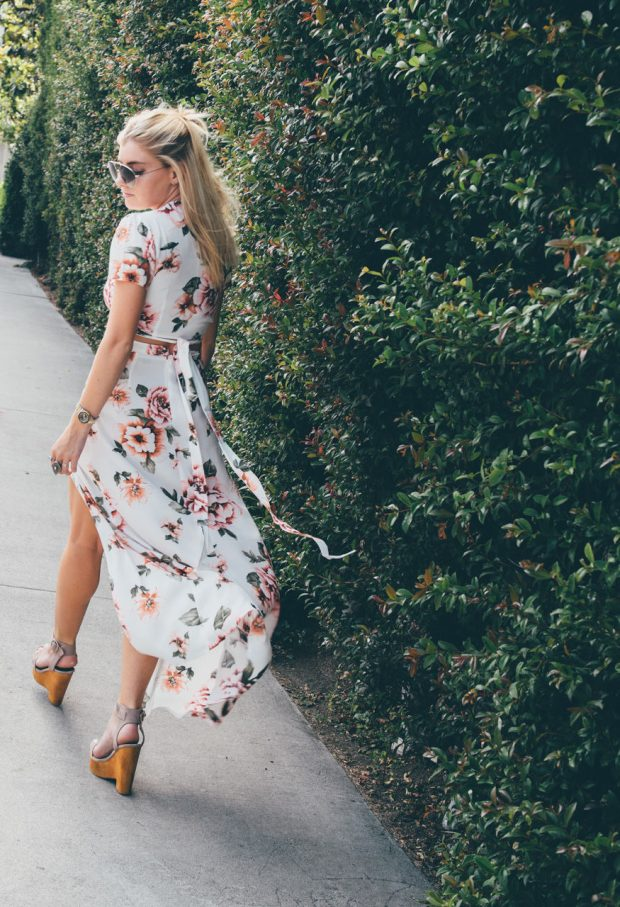 Floral Print Maxi Skirt and crop top