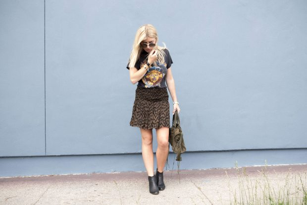 flounce skirt and vintage band tee
