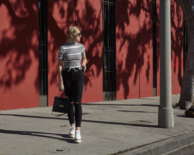 topshop striped funnel neck top and high waisted black jeans