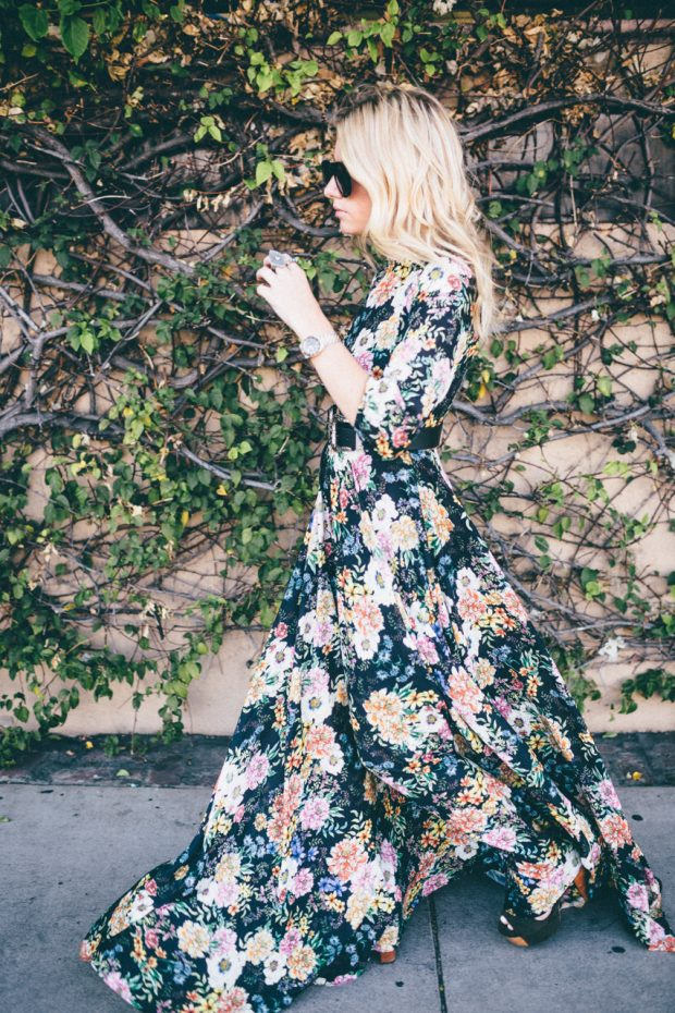 An airy floral Yumi Kim maxi dress in delicate silk