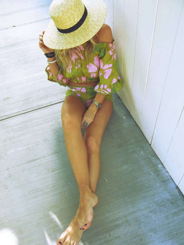 straw boat hat and free people two piece set