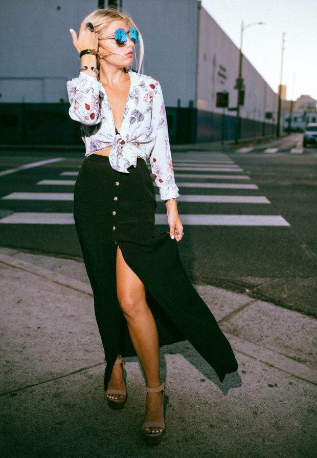 button front maxi skirt