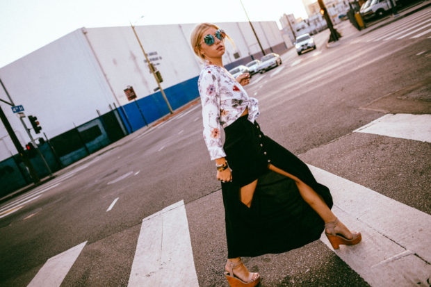 floral equipment blouse and maxi skirt